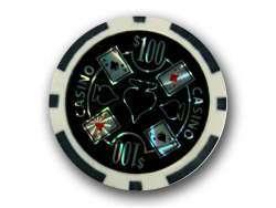 Poker Chips Casino Laser 100$ Schwarz - 50 Stück