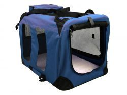 Transportbox für Hunde + Liegematte (Größe XL / 90cm, Navy Blau)