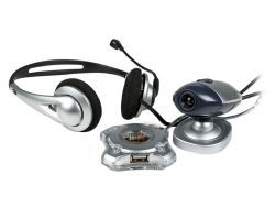 HiPoint 3in1 Gift Set: 3D Headphone / Webcam / USB HUB 4 Port
