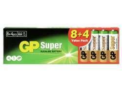 Batterie GP Super Alkaline LR06 Mignon AA (8 St.+4)  03015AB8+4