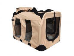 Transportbox für Hunde + Liegematte (Größe L / 80cm, Beige)