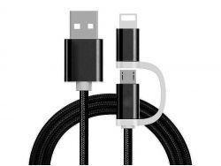 Reekin 2 in 1 Ladekabel (USB Micro & Lightning) - 1,0 Meter (Schwarz-Nylon)