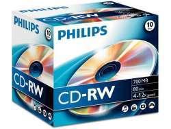 Philips CD-RW 80Min 700MB 4-12x JC (10pcs.) CW7D2NJ10/00