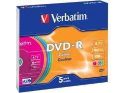 DVD-R 4.7GB Verbatim 16x Colour 5er Slim Case 43557