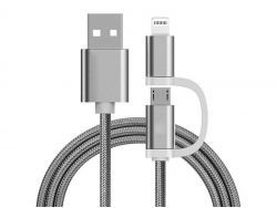 Reekin Chargeur 2 en 1 (USB Micro & Lightning) - 1,0 Mètre (Argenté-Nylon)