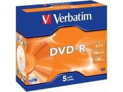 DVD-R 4.7GB Verbatim 16x 5er Jewel Case 43519