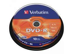 DVD-R 4.7GB Verbatim 16x 10er Cakebox 43523