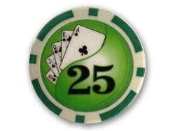 Poker Chips Deluxe 25$ Grün - 50 Stück