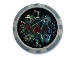 Pack de 50 jetons de poker Casino Laser 1$ Gris